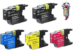 5 Piece Bulk Set Remanufactured Brother LC75 Ink Cartridges